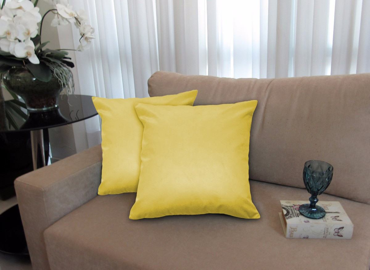Kit 2 Almofadas Decorativas 50x50 Tecido Suede Amarelo