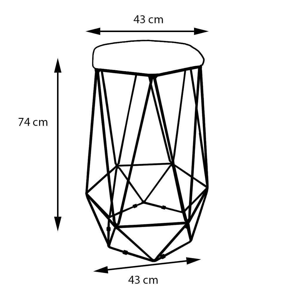 Kit 2 Banquetas Aramado Eiffel Hexágono Preto Assento Suede Bege