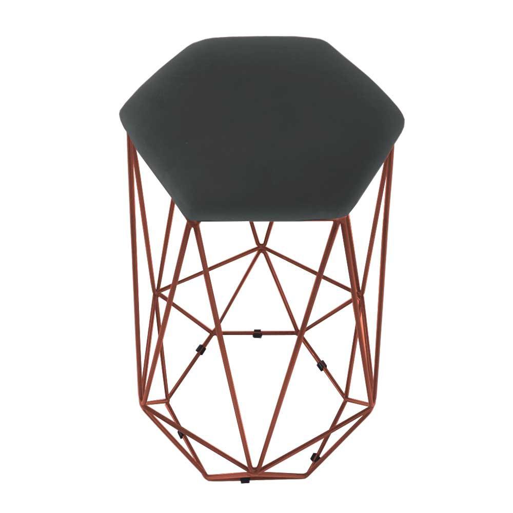 Kit 2 Banquetas Aramado Eiffel Hexágono Bronze Assento Suede Cinza Grafite - Decorar Estofados