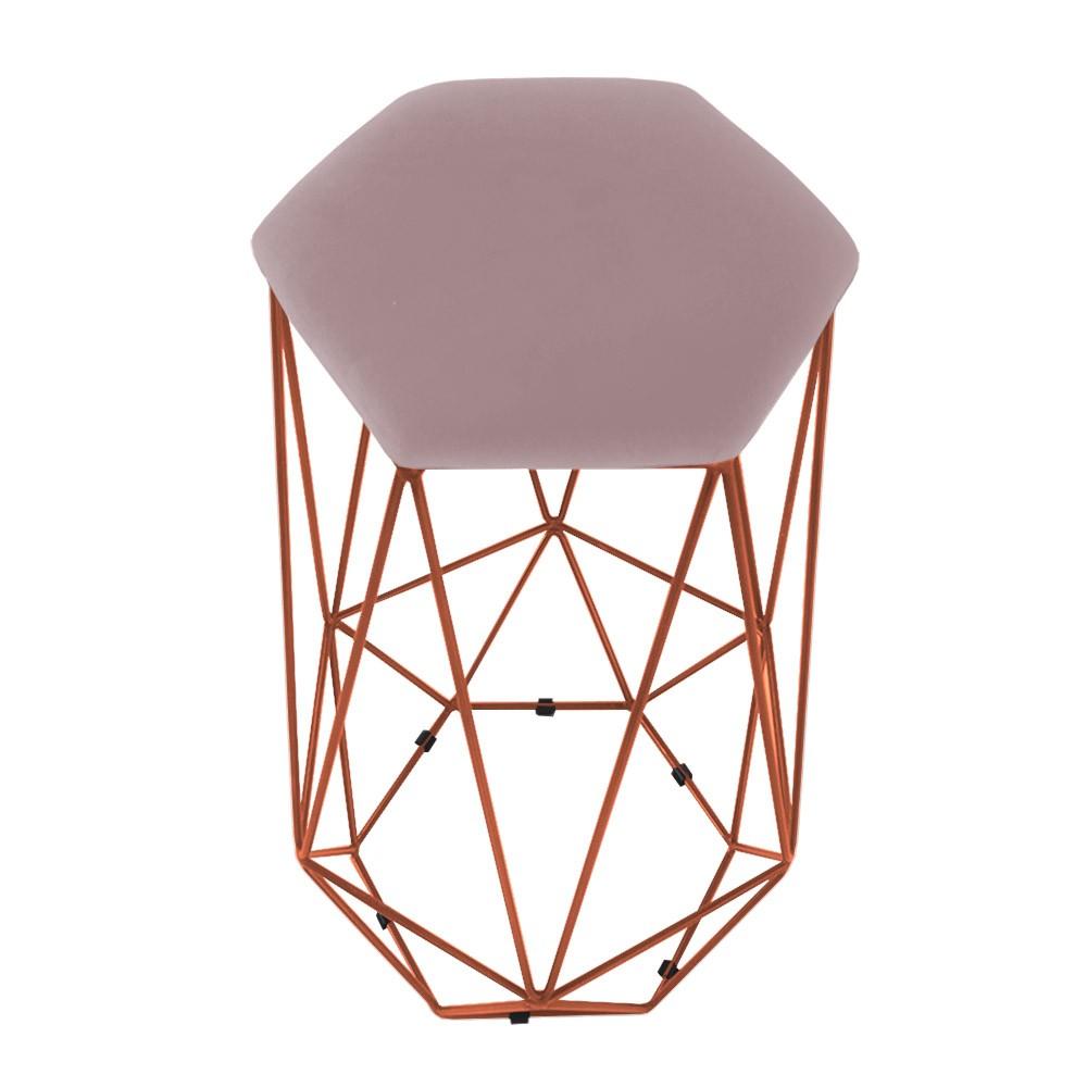 Kit 2 Banquetas Aramado Eiffel Hexágono Bronze Assento Suede Crepe