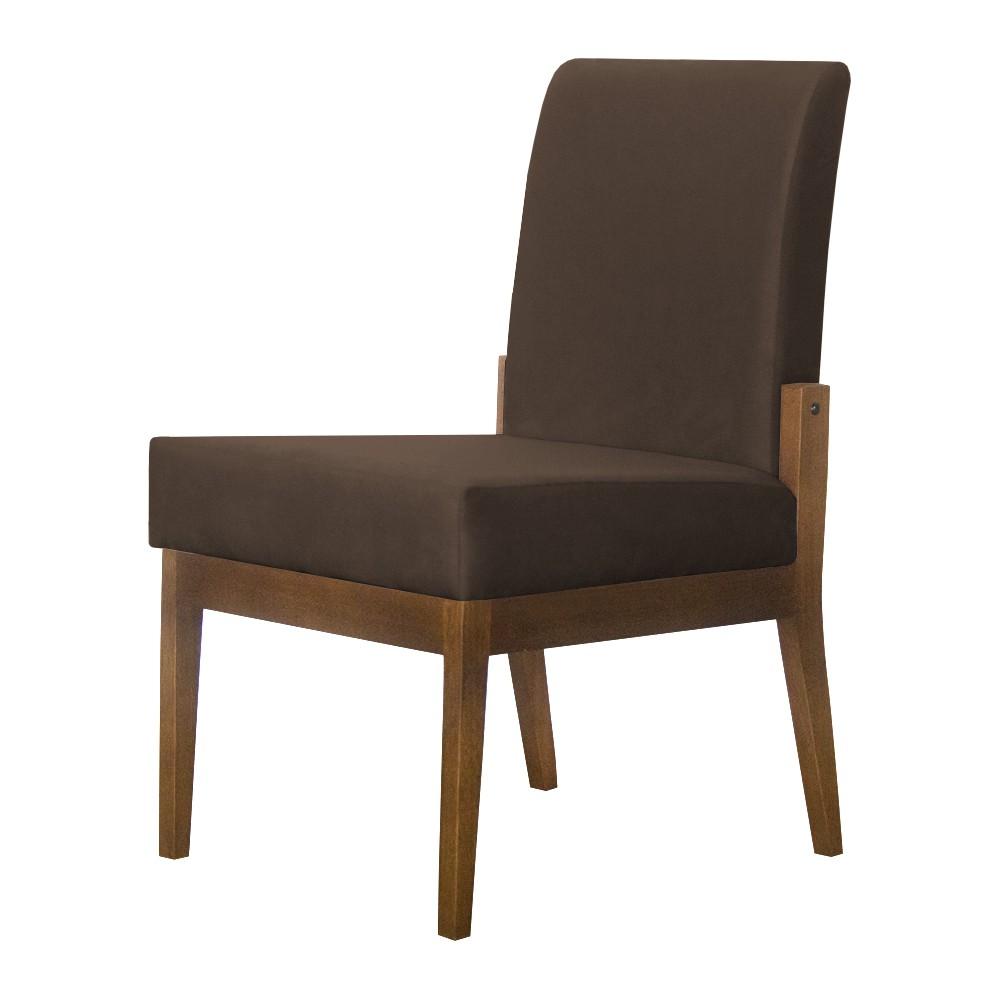 Kit 02 Cadeiras de Jantar Helena Suede Marrom - Decorar Estofados
