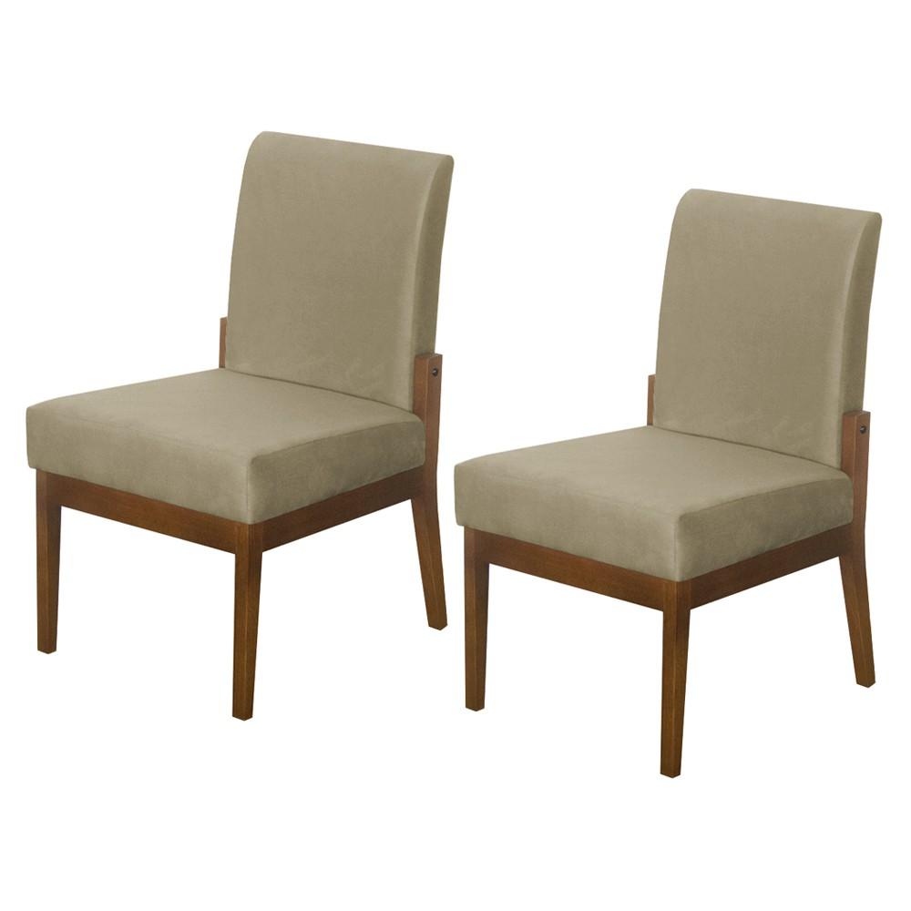 Kit 02 Cadeiras de Jantar Helena Suede Nude - Decorar Estofados