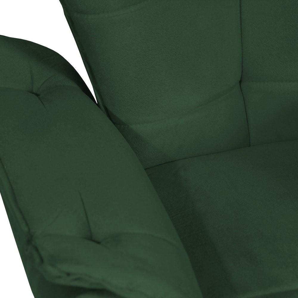 Kit 2 Poltrona Opala Decorativa Pé Palito Suede Verde Bandeira