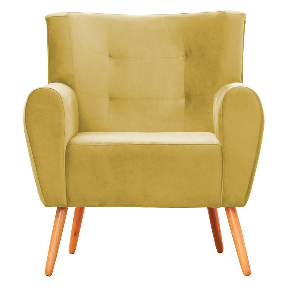Kit 02 Poltronas Decorativa Pés Palito Astra Suede Amarelo