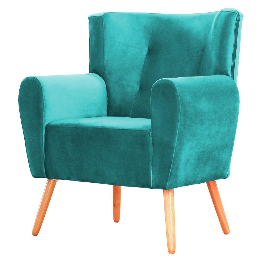 Kit 02 Poltronas Decorativa Pés Palito Astra Suede Azul Tiffany