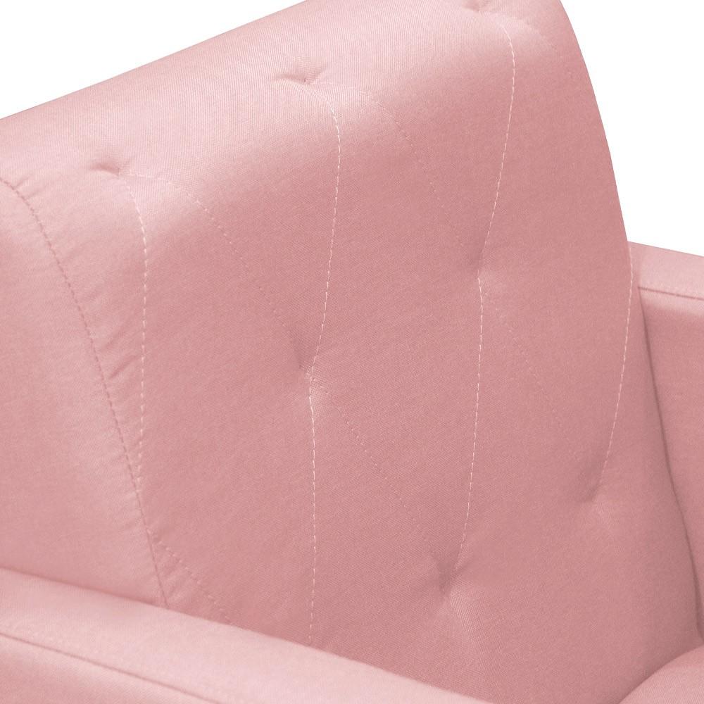 Kit 02 Poltronas Camila Pé Palito Decorativa Suede Rosê