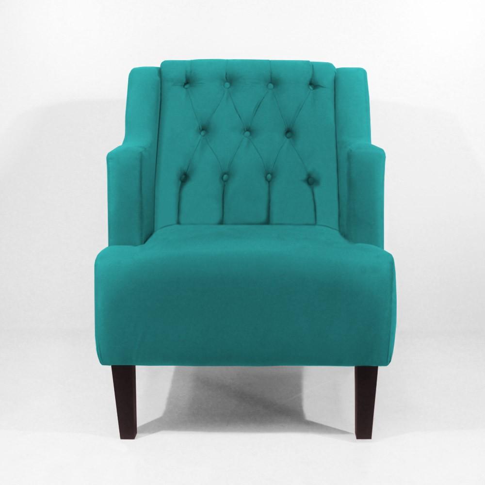 Kit 2 Poltronas Classic Capitonê + 1 Puff Retrô Luis XV Suede Azul Tiffany