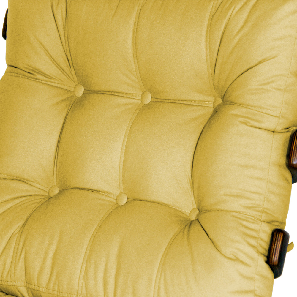 Kit 2 Poltronas Costela Com 2 Puff Costela Suede Amarela
