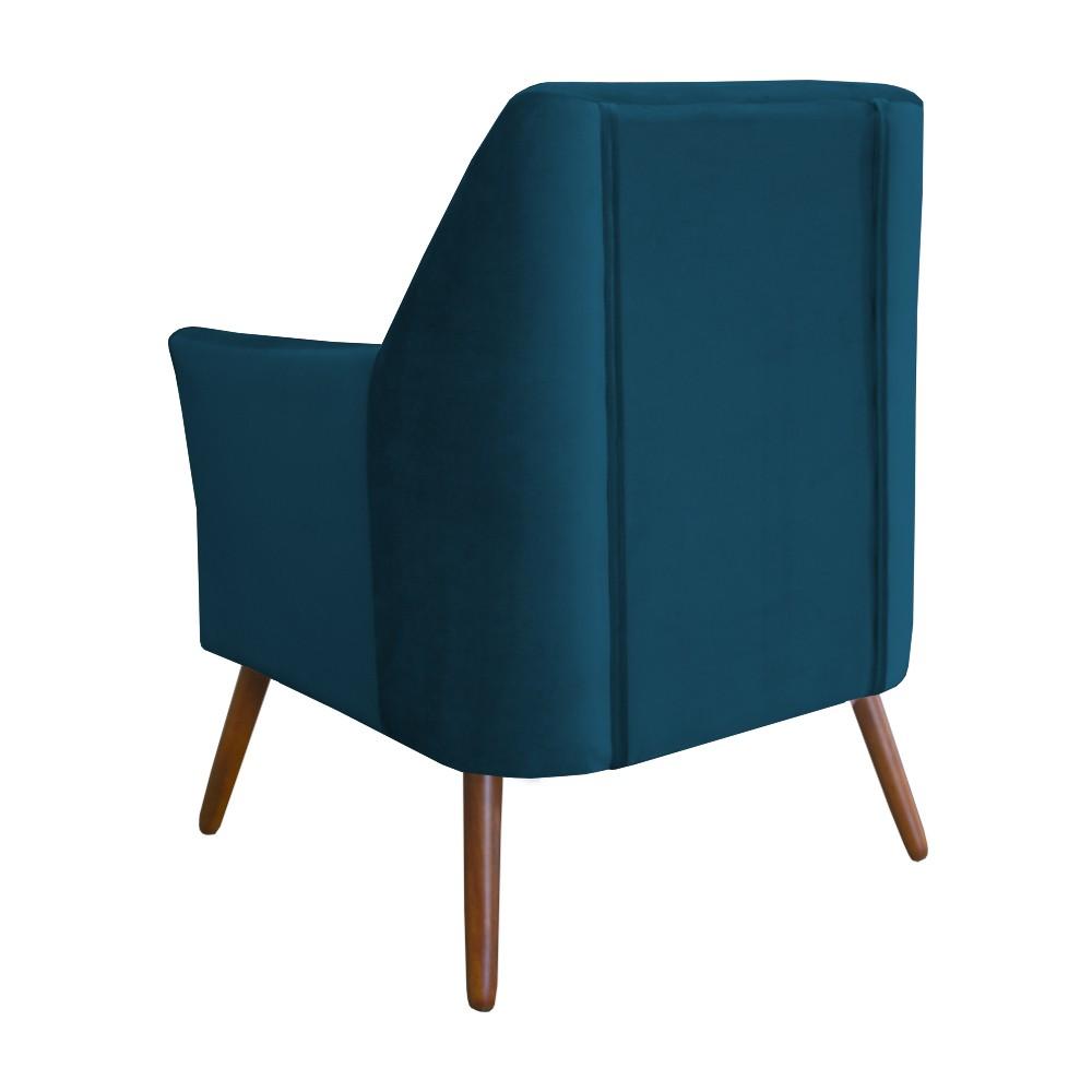Kit 2 Poltronas Nina Decorativo + Puff Redondo Danny Suede Azul Marinho