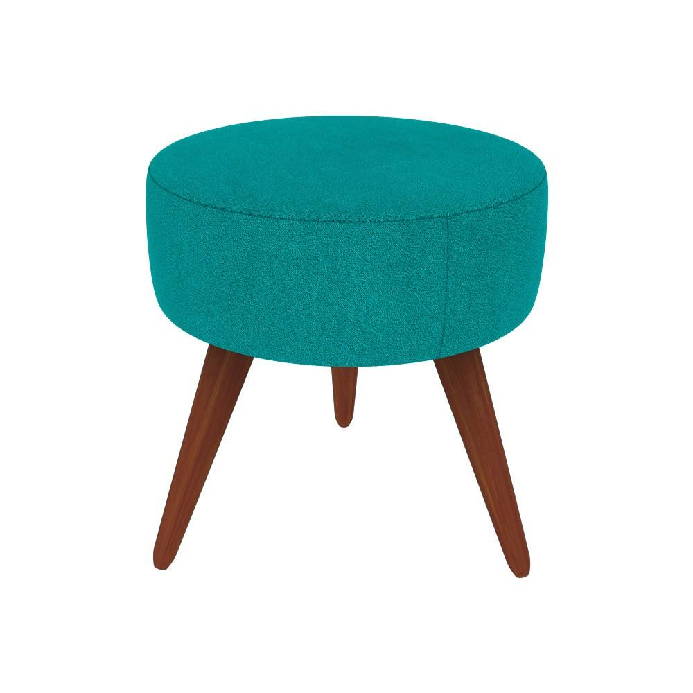 Kit 2 Poltronas Nina Decorativo + Puff Redondo Danny Suede Azul Tiffany