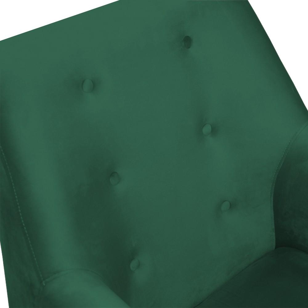 Kit 2 Poltronas Nina Decorativo + Puff Redondo Danny Suede Verde Bandeira