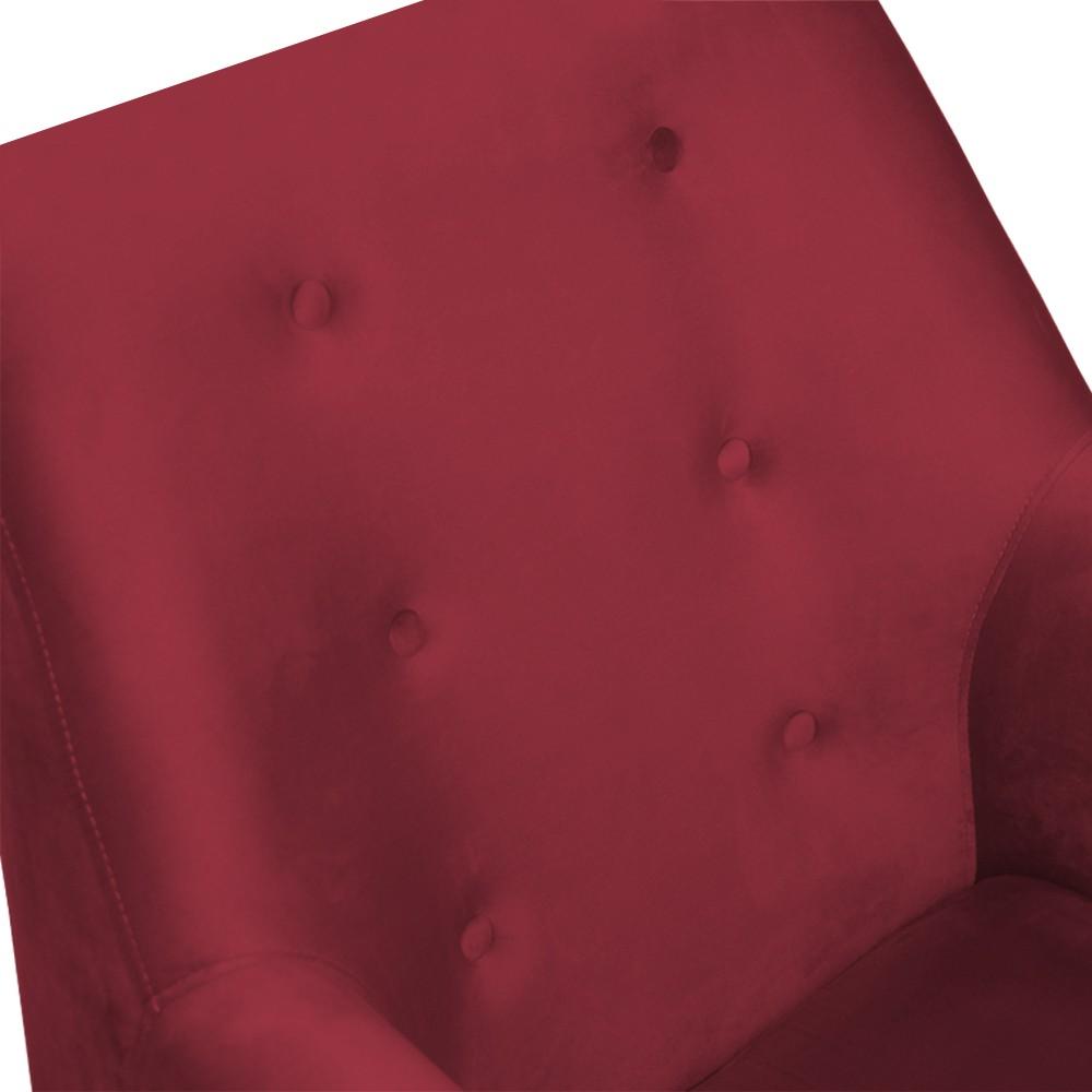 Kit 2 Poltronas Nina Decorativo + Puff Redondo Danny Suede Vermelho