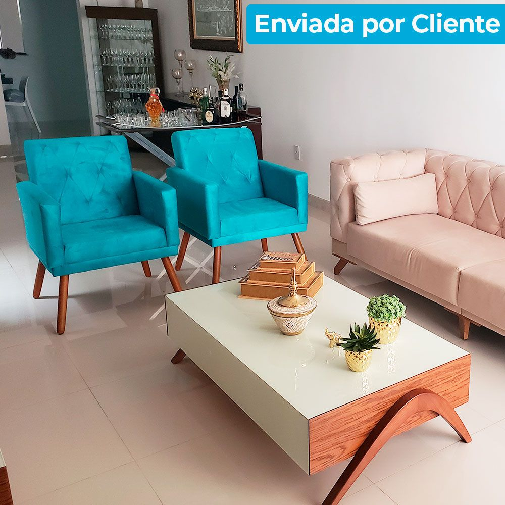 Kit 2 Poltronas  Camila Amarelo + Puff Redondo Decorativo Suede Pés Palito