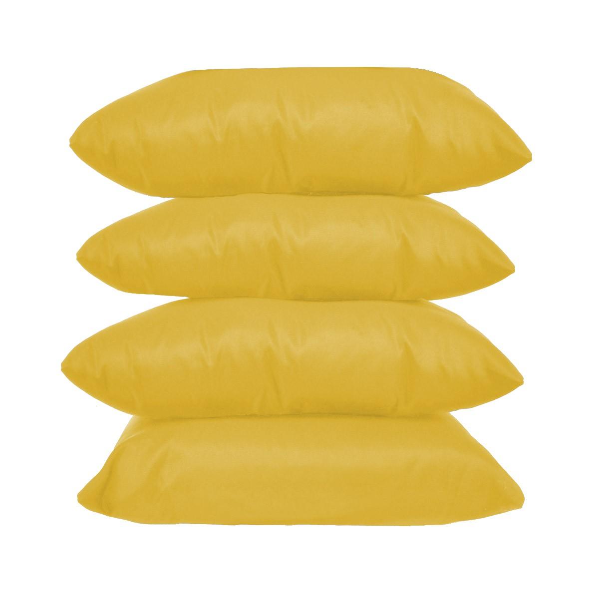 Kit 4 Almofadas Decorativas 40x40 Tecido Suede Amarelo