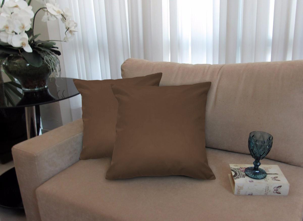 Kit 4 Almofadas Decorativas 40x40 Tecido Suede Marrom