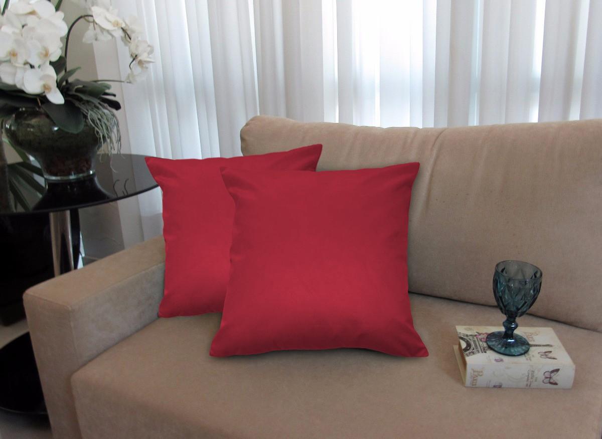 Kit 4 Almofadas Decorativas 40x40 Tecido Suede Vermelho