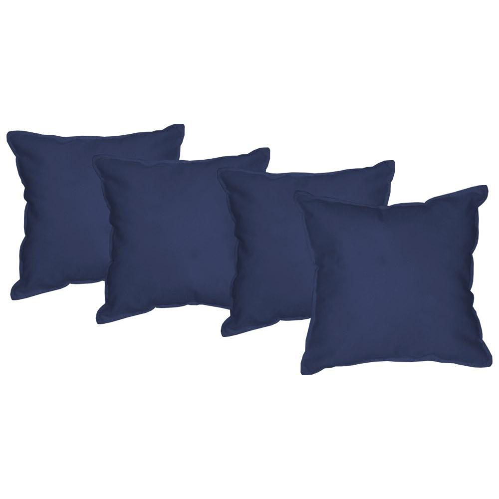 Kit 4 Almofadas Decorativas 50x50 Tecido Suede Azul Marinho