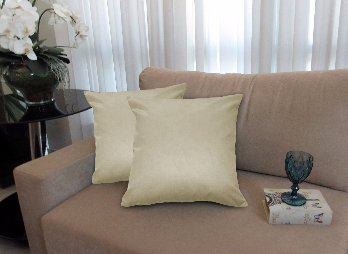 Kit 4 Almofadas Decorativas 50x50 Tecido Suede Bege
