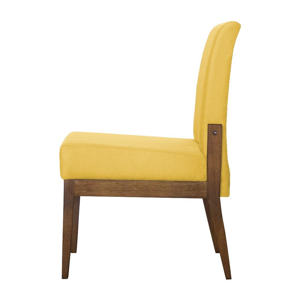 Kit 04 Cadeiras de Jantar Helena Suede Amarelo - Decorar Estofados