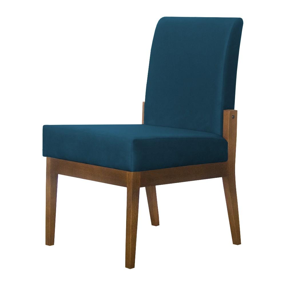 Kit 04 Cadeiras de Jantar Helena Suede Azul Marinho - Decorar Estofados