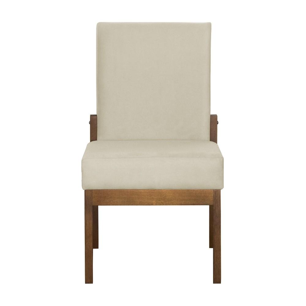 Kit 04 Cadeiras de Jantar Helena Suede Bege - Decorar Estofados