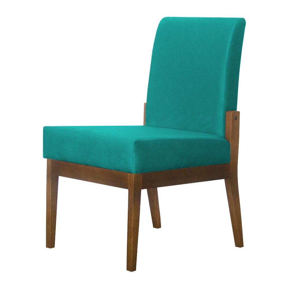 Kit 04 Cadeiras de Jantar Helena Suede Azul Tiffany - Decorar Estofados