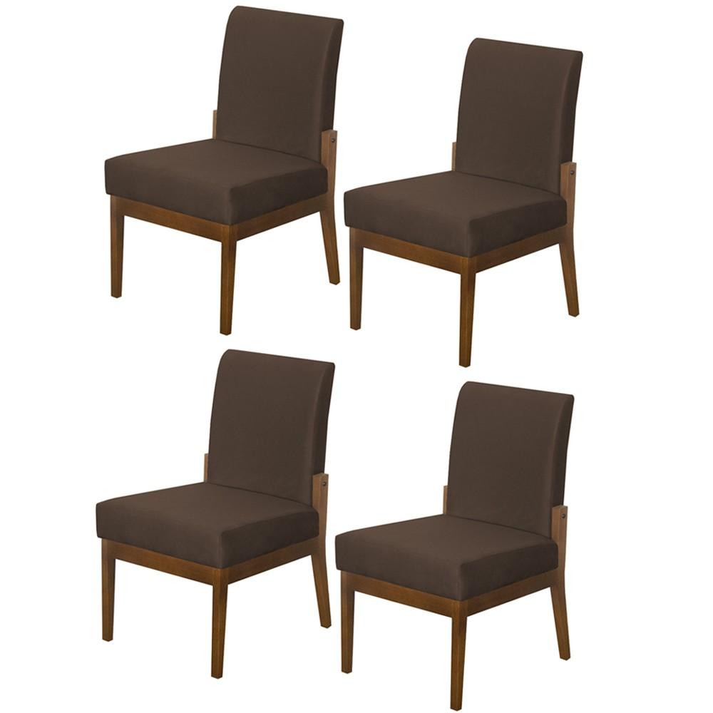 Kit 04 Cadeiras de Jantar Helena Suede Marrom - Decorar Estofados