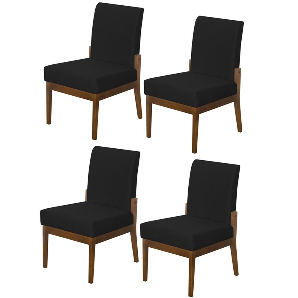 Kit 04 Cadeiras de Jantar Helena Suede Preto - Decorar Estofados