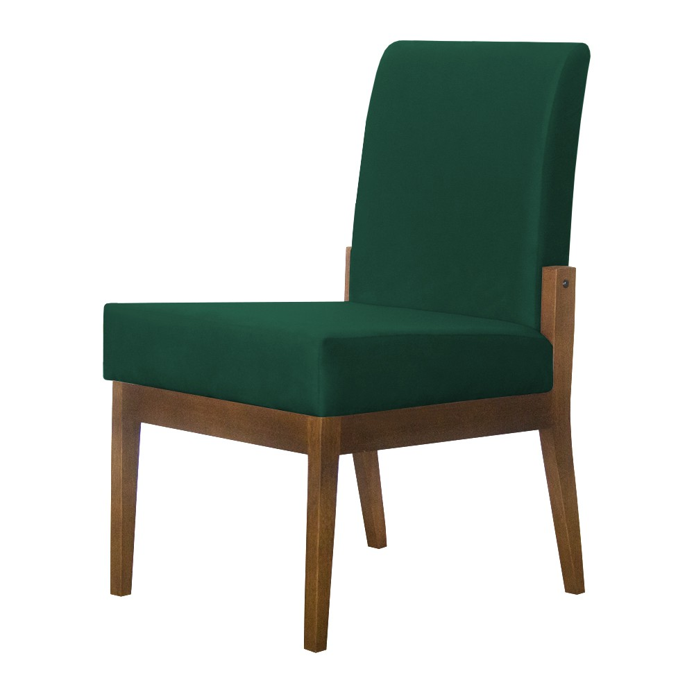 Kit 04 Cadeiras de Jantar Helena Suede Verde Bandeira - Decorar Estofados