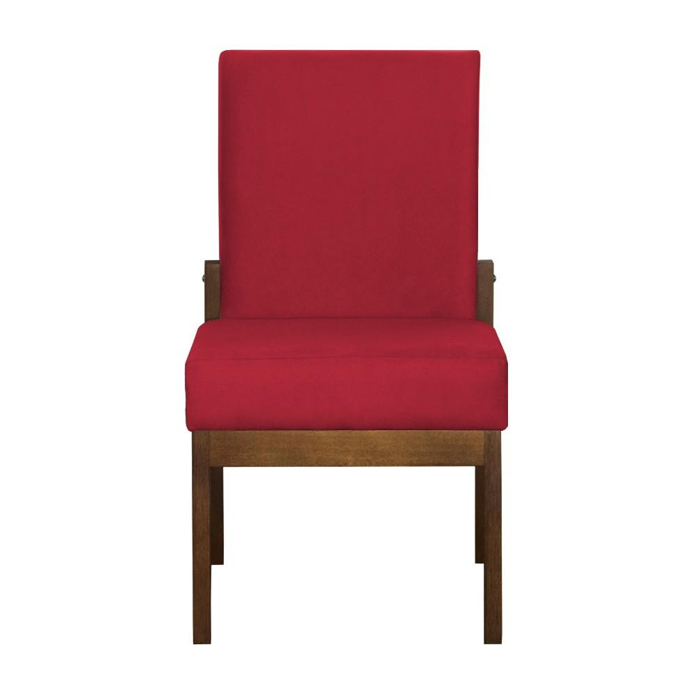 Kit 04 Cadeiras de Jantar Helena Suede Vermelho - Decorar Estofados