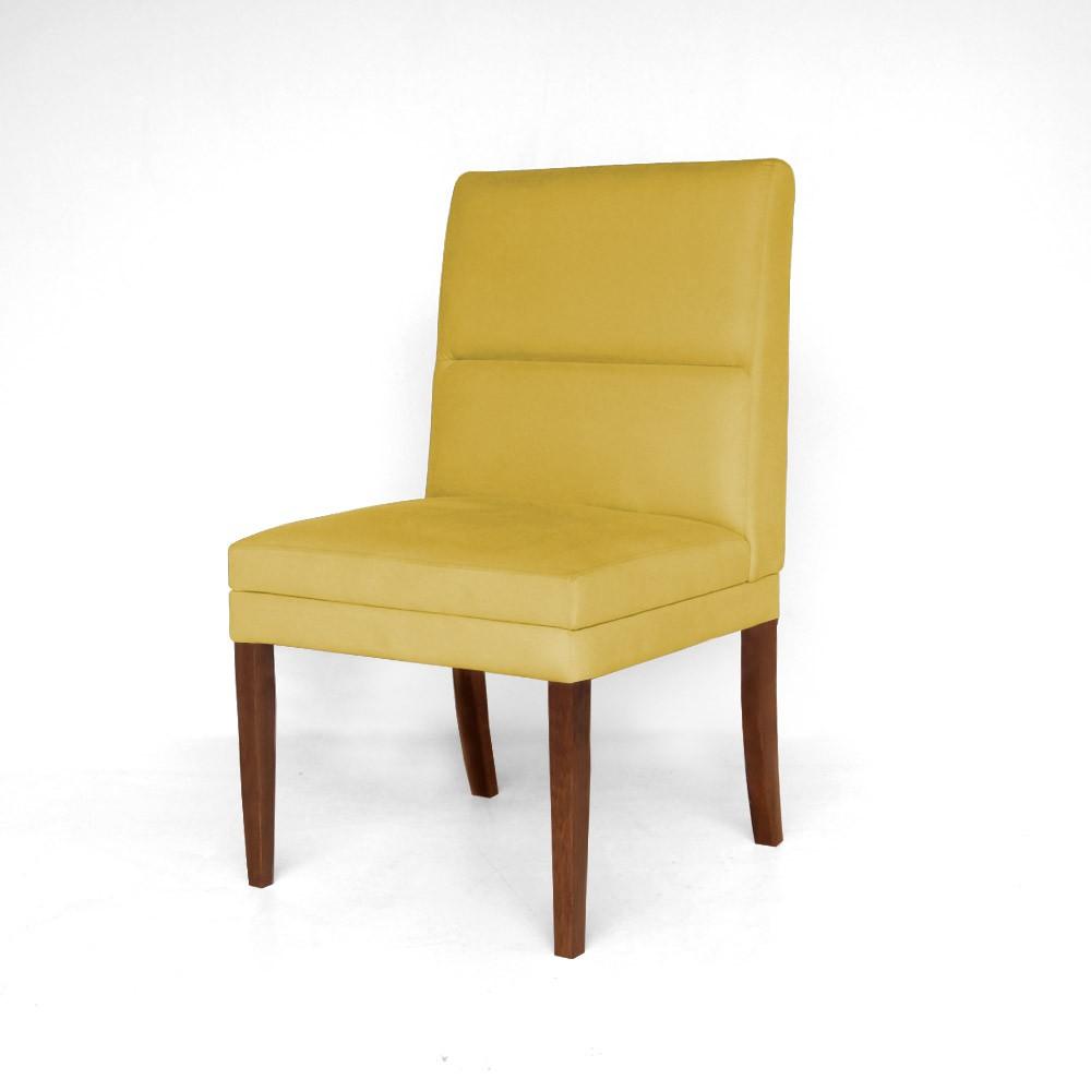 Kit 4 Cadeiras De Jantar Hermione Base Madeira Maciça Estofada Suede Amarelo