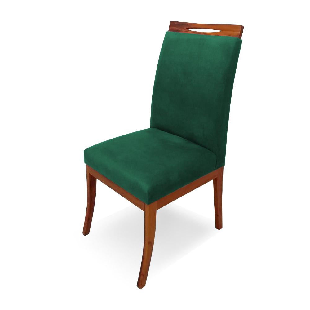 Kit 4 Cadeiras De Jantar Louis Estofada Base Madeira Peroba Suede Verde Bandeira
