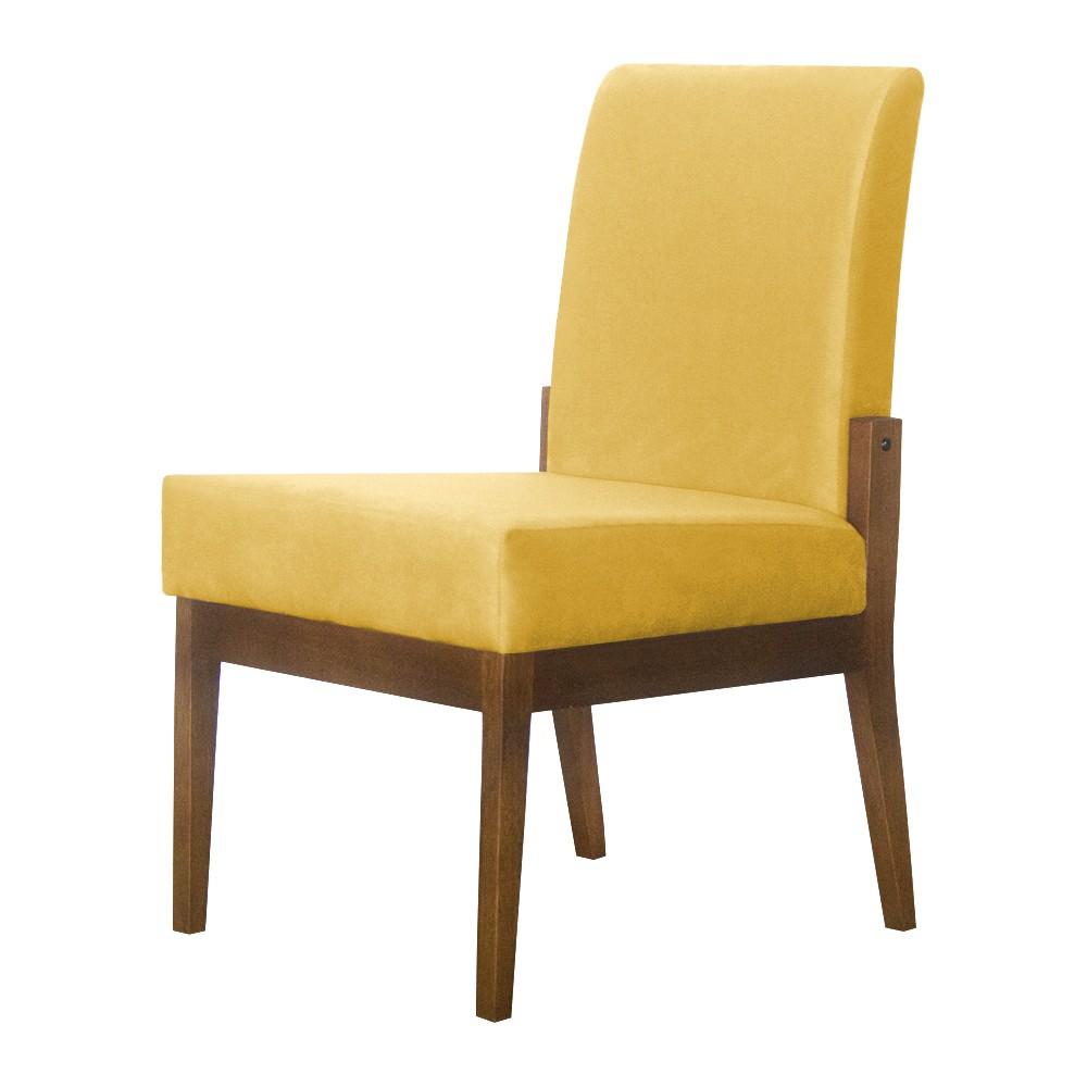 Kit 06 Cadeiras de Jantar Helena Suede Amarelo