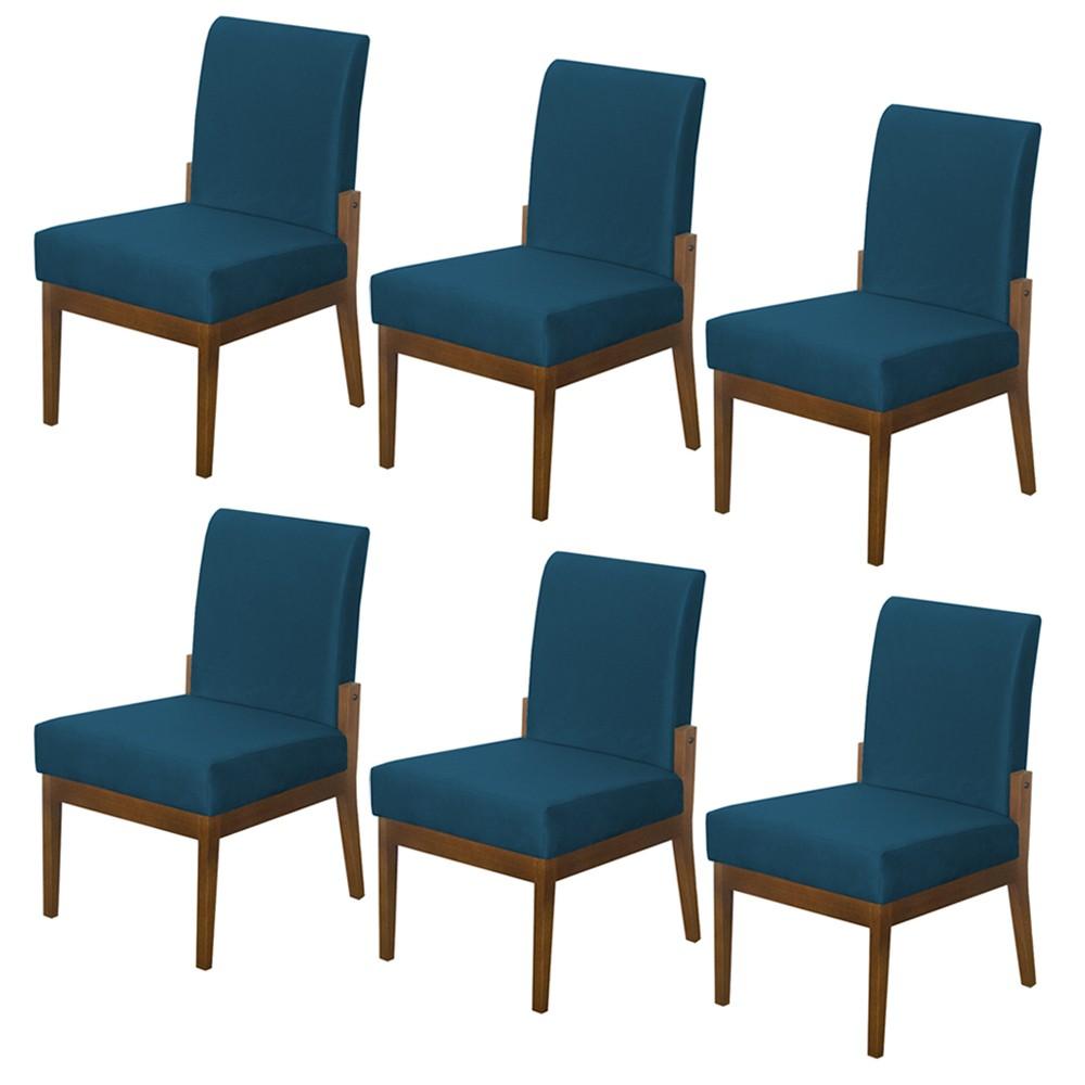 Kit 06 Cadeiras de Jantar Helena Suede Azul Marinho
