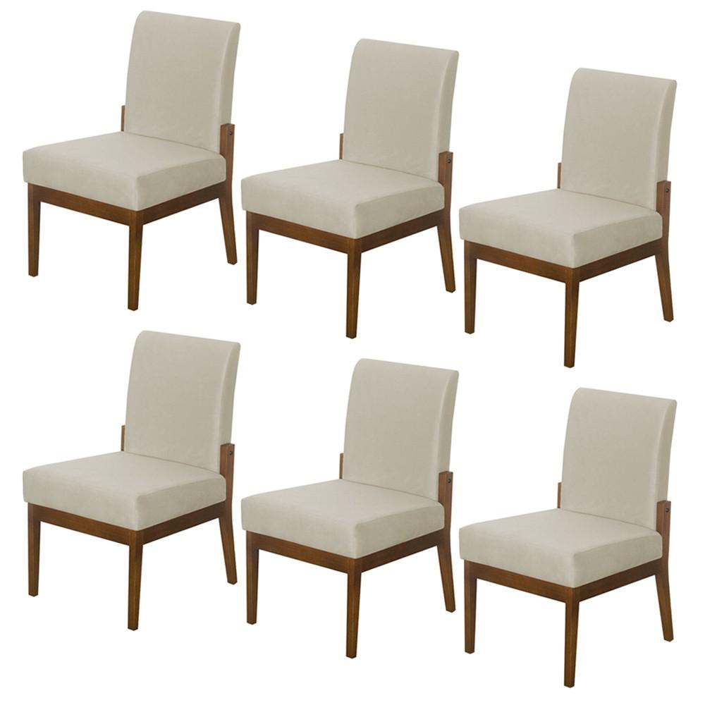 Kit 6 Cadeiras Jantar Helena Estofada Casa Cozinha Bege