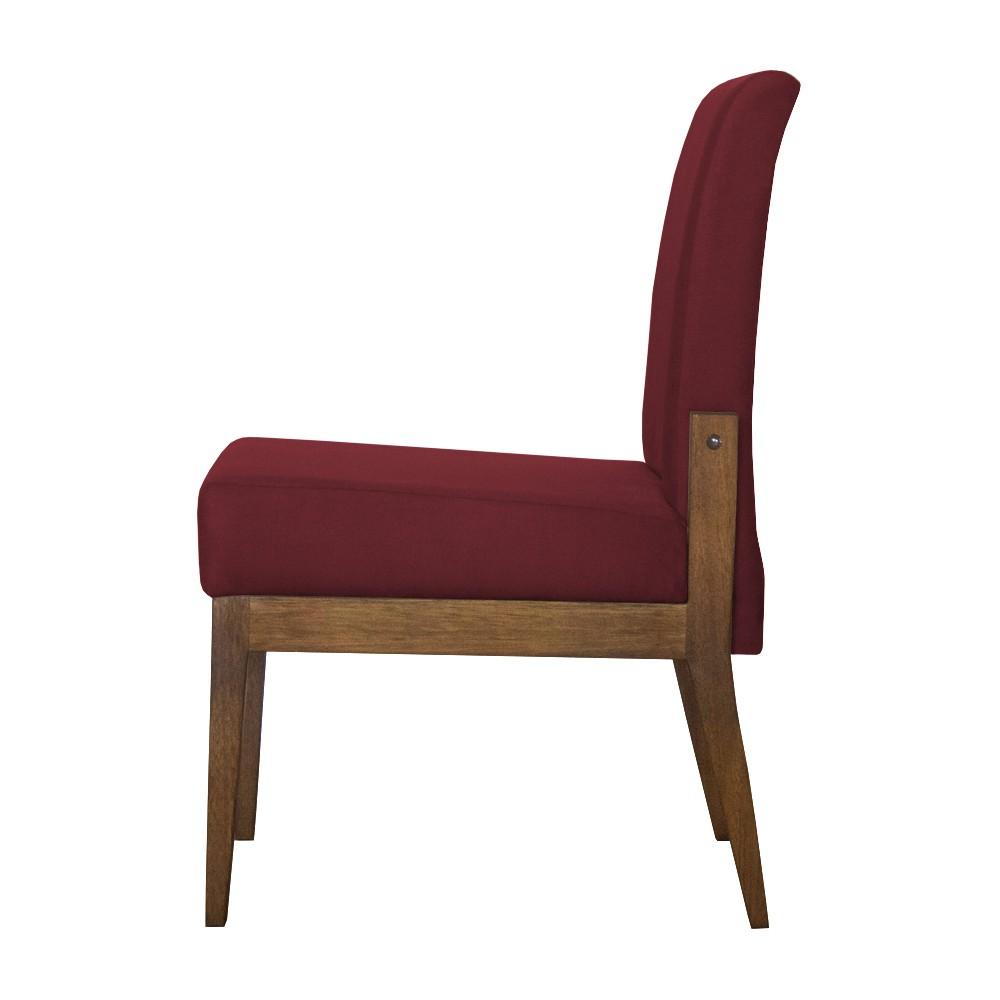 Kit 06 Cadeiras de Jantar Helena Suede Bordô