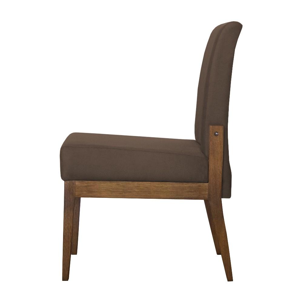 Kit 06 Cadeiras de Jantar Helena Suede Marrom