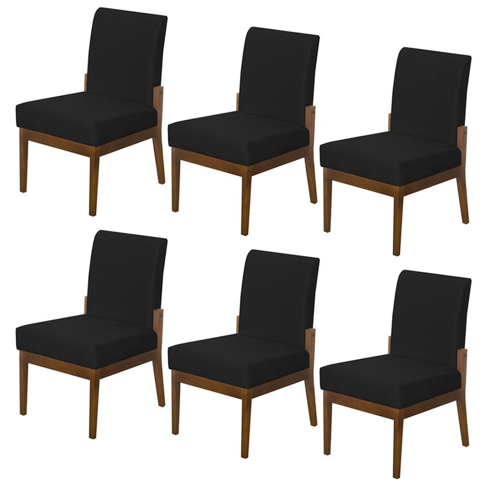 Kit 06 Cadeiras de Jantar Helena Suede Preto