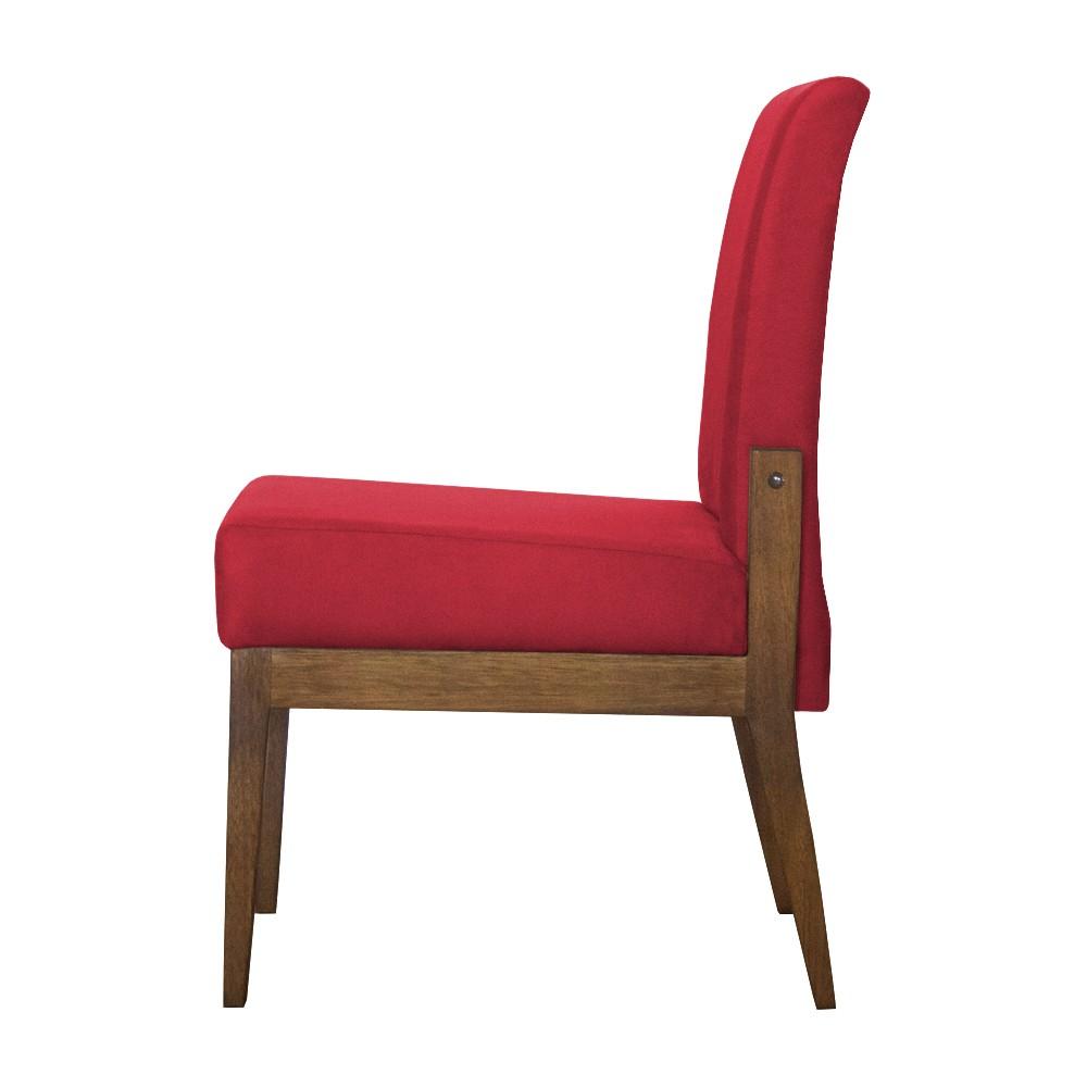 Kit 06 Cadeiras de Jantar Helena Suede Vermelho