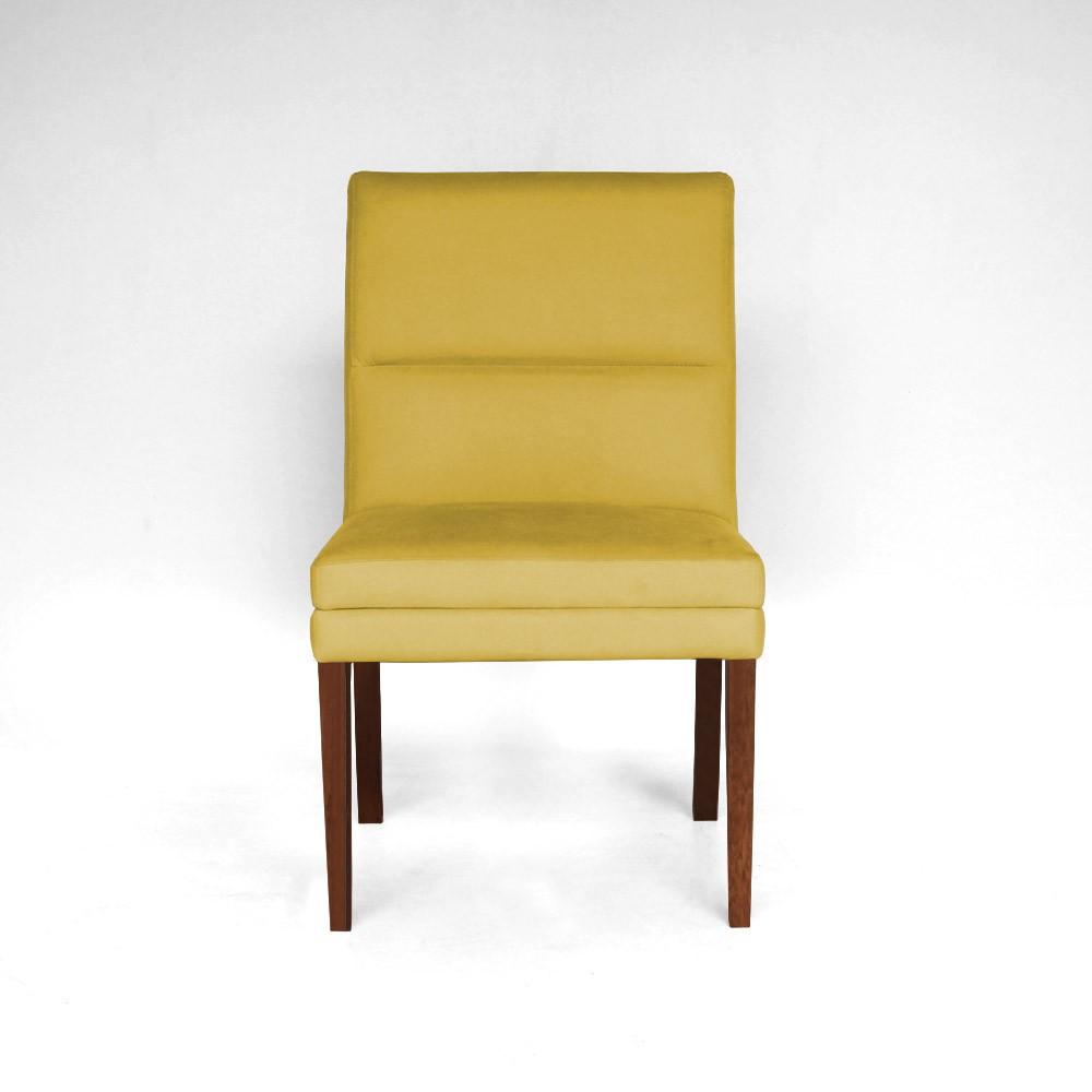 Kit 6 Cadeiras De Jantar Hermione Base Madeira Maciça Estofada Suede Amarelo