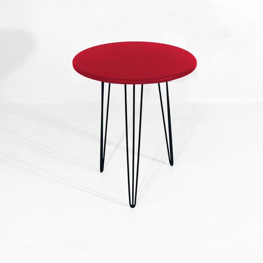 Kit Mesa Lateral + Mesa De Apoio Decorativa Sandy Pés Hairpin Leg Preto Tampo Redondo Vermelho