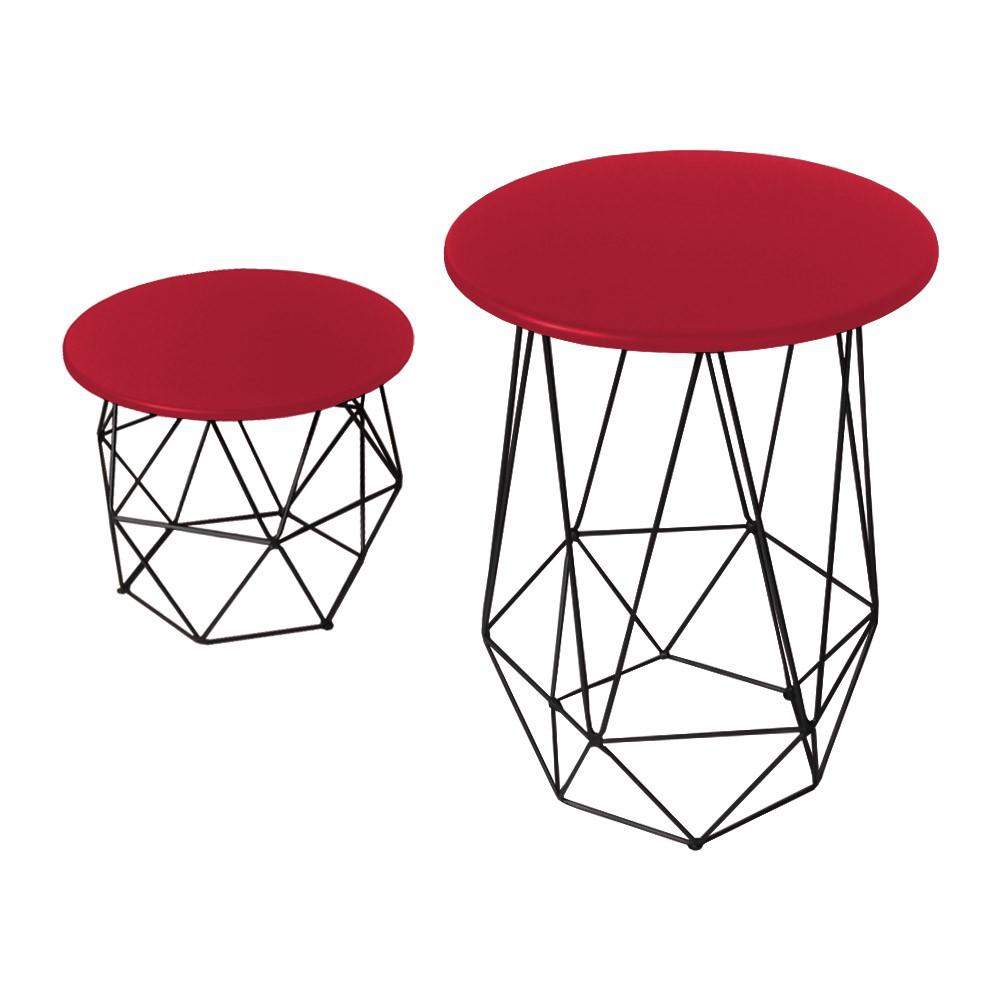 Kit Mesa Lateral + Mesa de Centro Decorativa Eiffel Tampo Vermelho Aramado Preto