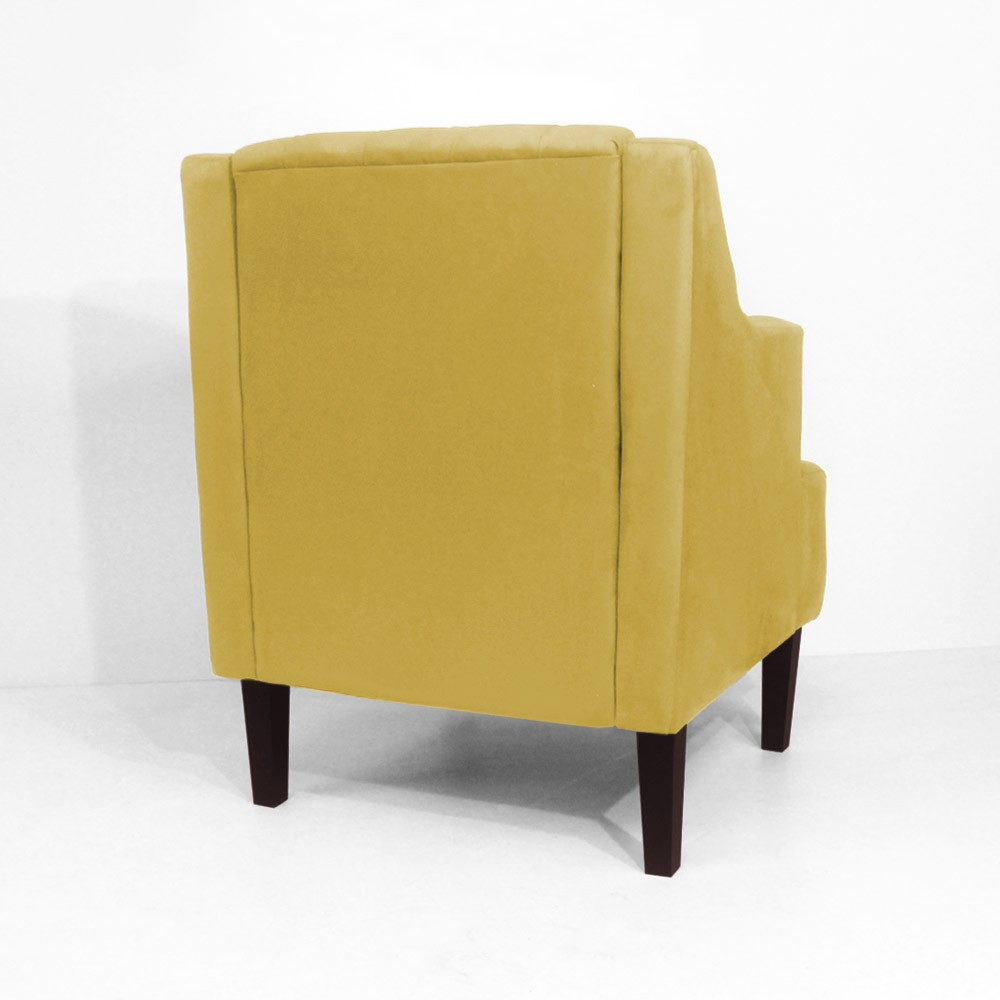 Kit Sofá Namoradeira 120 cm + Poltrona Classic Capitonê Suede Amarelo