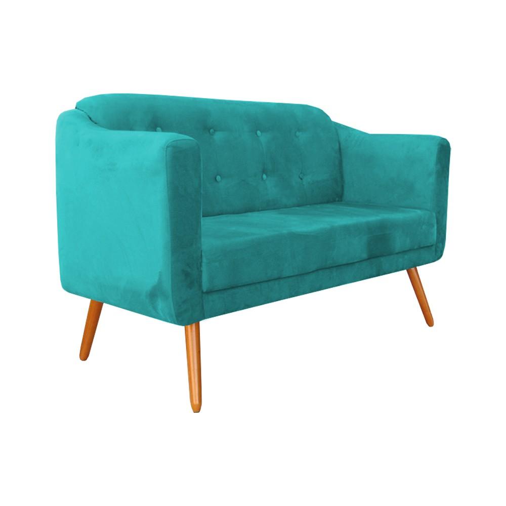 Kit Namoradeira Bruna + 4 Poltronas Camila Suede Azul Tiffany