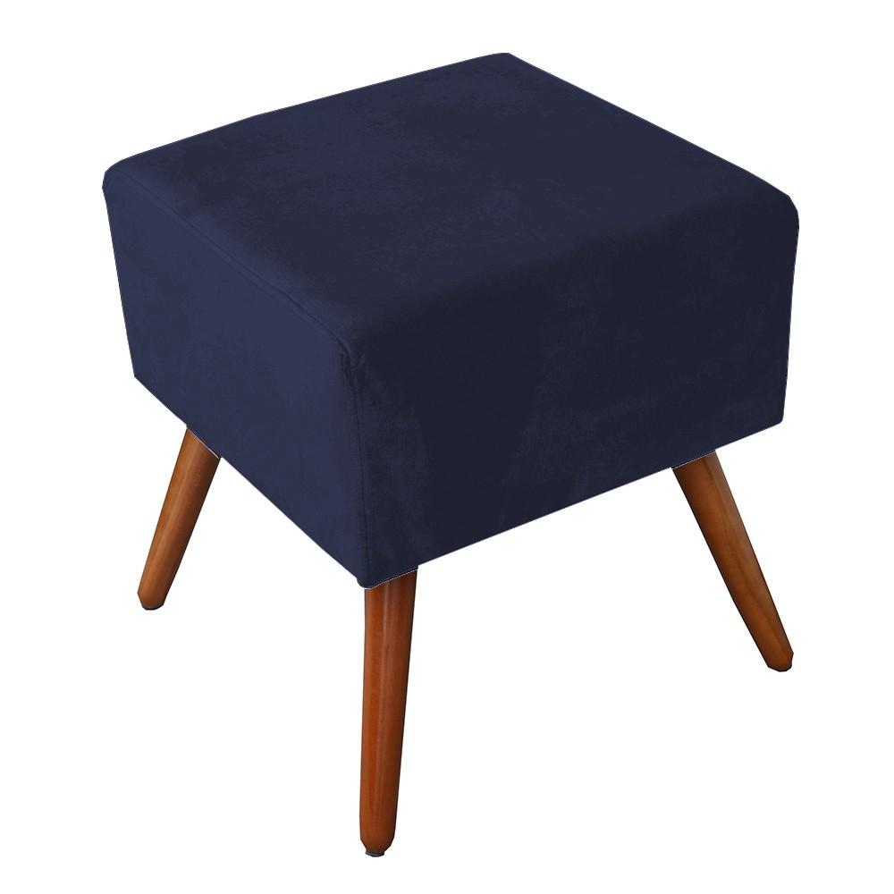 Kit Poltrona Gabi Pé Palito + Puff Quadrado Suede Azul Marinho Sala, quarto, amamentação