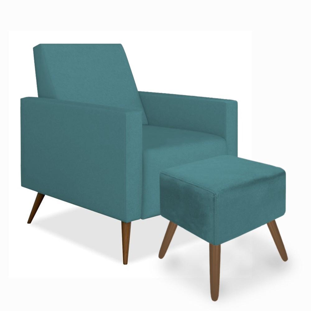 Kit Poltrona Gabi Pé Palito + Puff Quadrado Suede Azul Tiffany Sala, quarto, amamentação