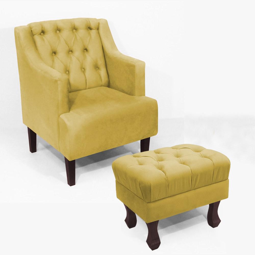 Kit Poltrona Classic + Puff Retrô Luís XV Decorativo Suede Amarelo