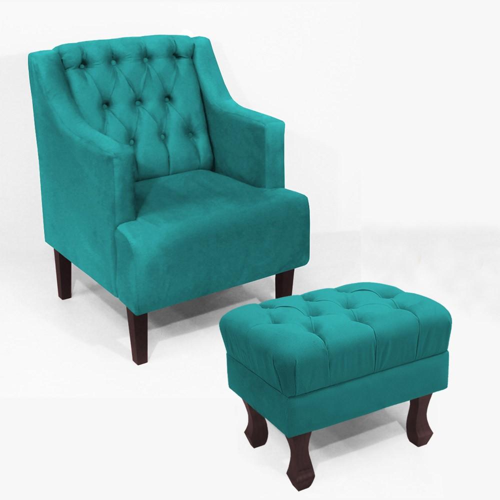 Kit Poltrona Classic + Puff Retrô Luís XV Decorativo Suede Azul Tiffany