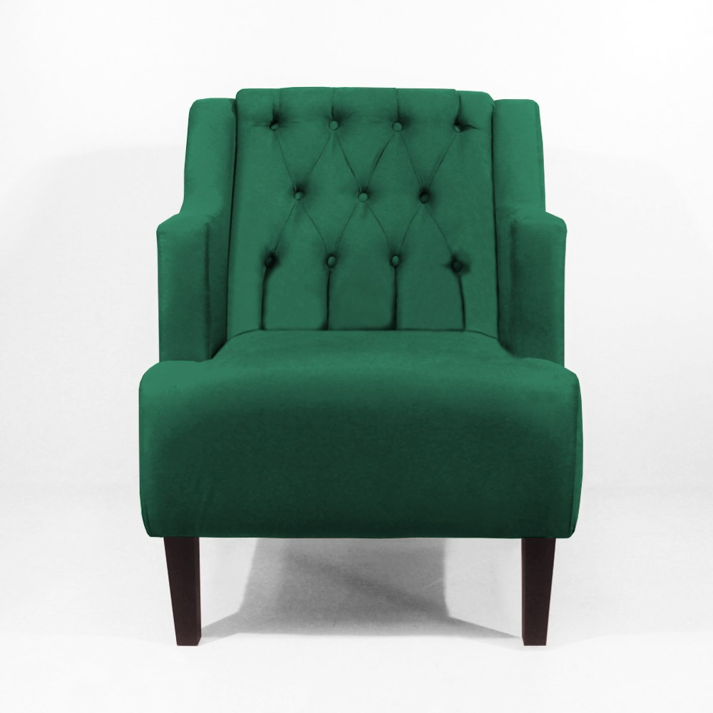 Kit Poltrona Classic + Puff Retrô Luís XV Decorativo Suede Verde Bandeira