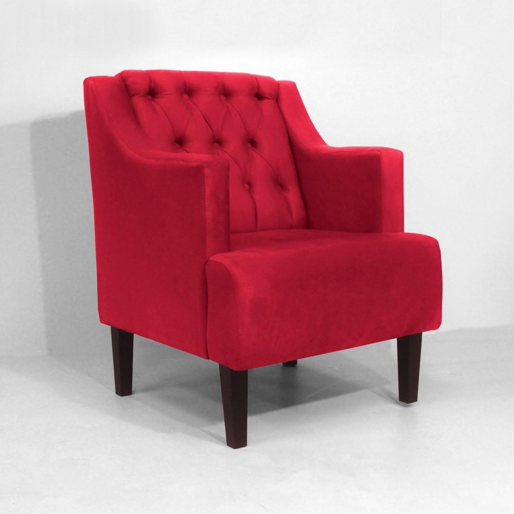 Kit Poltrona Classic + Puff Retrô Luís XV Decorativo Suede Vermelho